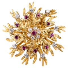 Ruby Diamond Gold Cluster Brooch