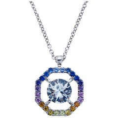 Rainbow Sapphire Octagon 18 Karat White Gold Necklace