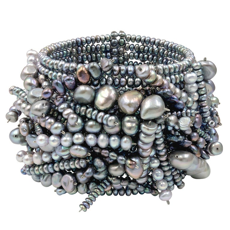 Estyn Hulbert Blue and Silver Pearl One of a Kind Chaos Cuff Bracelet