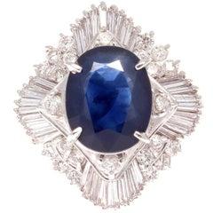 4.45 Carat Sapphire Diamond Platinum Cocktail Ring