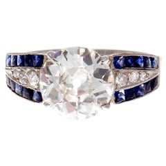 Art Deco GIA 2.06 J VS2 Old European Cut Diamond Sapphire Platinum Ring