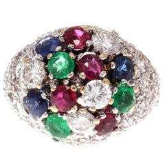 French 1950s Diamond Emerald Sapphire Ruby Tutti Fruti Gold Cocktail Ring