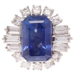 Natural 8.25 Carat Ceylon No Heat Sapphire Diamond Platinum Ring
