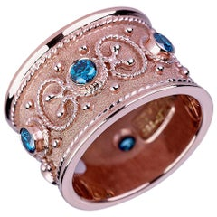 Georgios Collections 18 Karat Rose Gold Ring Byzantine Style with Blue Diamonds