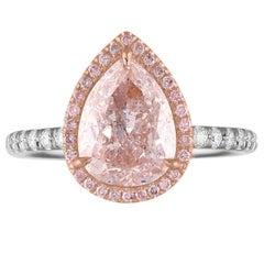 GIA Certified 2.56 Carat Pear Shape as Fancy Light Purplish Pink Set in Two-Tone
