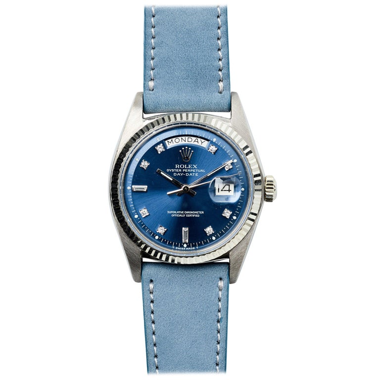 Rolex White Gold Diamond Factory Blue Dial Day-Date Automatic Wristwatch, 1970s