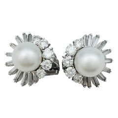 Platinum and White Gold M.Gérard Earrings, Diamonds and South Sea Pearls
