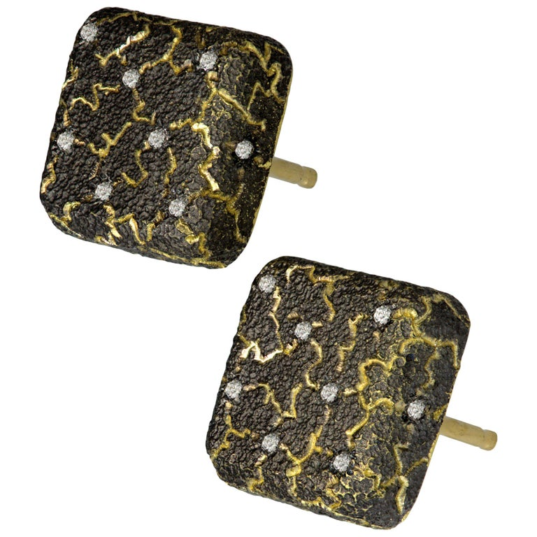 Alex Soldier Diamond Gold Textured Stud Earrings Cufflinks One of a Kind