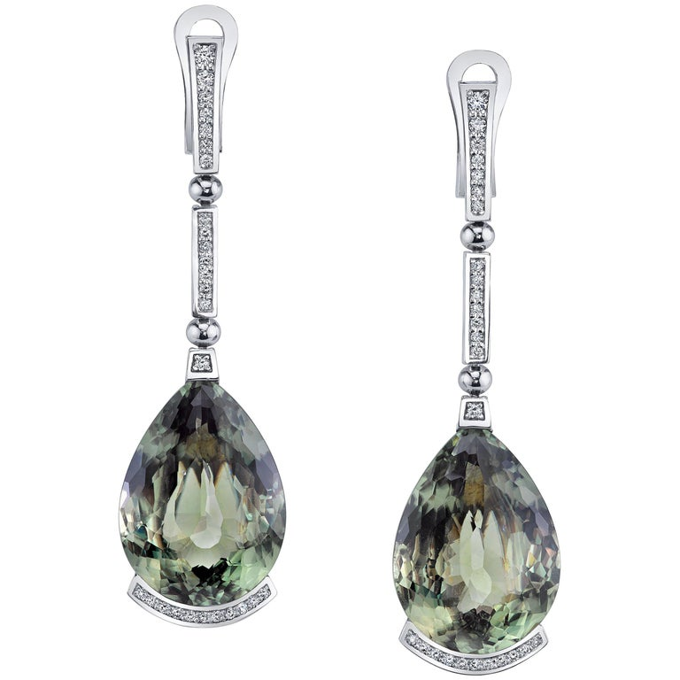 Alex Soldier Csarite Diamond White Gold Swan Drop Earrings One of a Kind