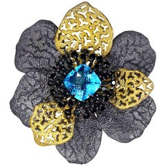 Blue Topaz Spinel Sterling Silver Gold Textured Brooch Pendant Headpiece
