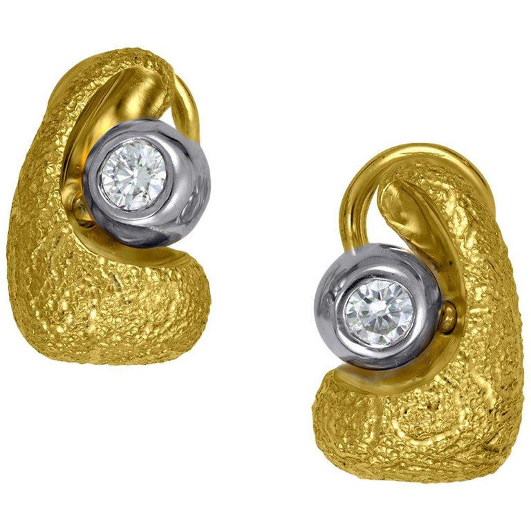 Alex Soldier Diamond Gold Modern Art Stud Earrings Cufflinks One of a Kind
