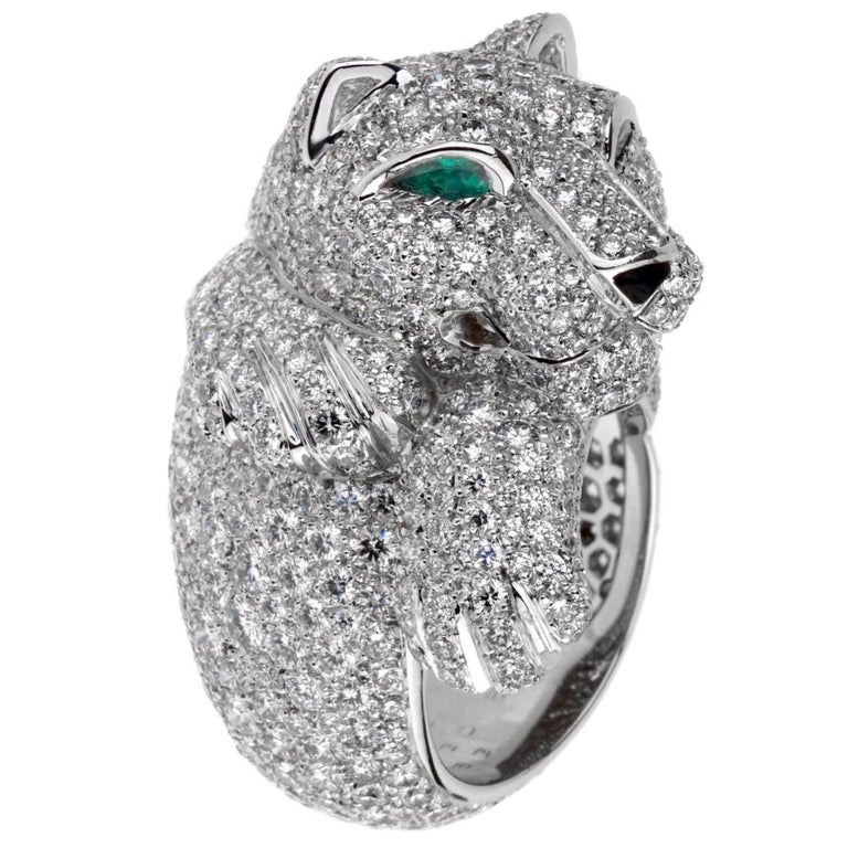 Cartier Panthere Pave Diamond Emerald White Gold Ring For Sale