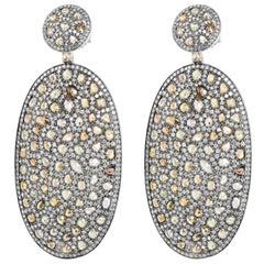 Rose Cut Diamond Oval Drop Earrings in 16 Karat White Gold 21.13 Carat