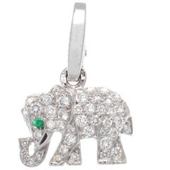 Cartier Elephant Diamond Emerald Gold Charm
