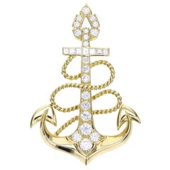 Cartier Vintage 18 Carat Gold Diamond Set Nautical Rope and Anchor Brooch
