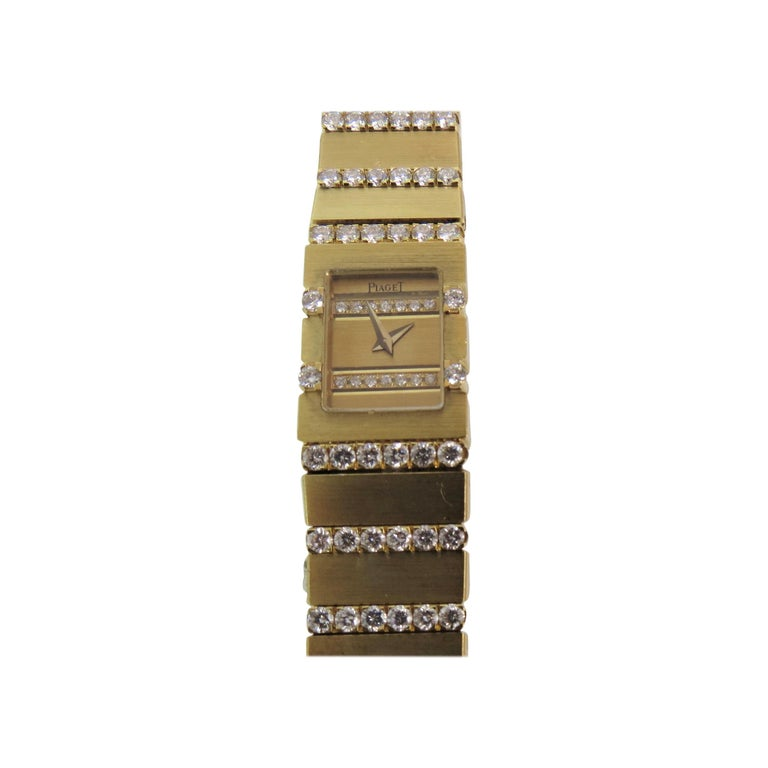 Piaget Ladies Yellow Gold Diamond Mini Polo Bracelet quartz Wristwatch