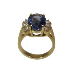 18 Karat Yellow Gold Sapphire and Princess Cut Diamond Ring