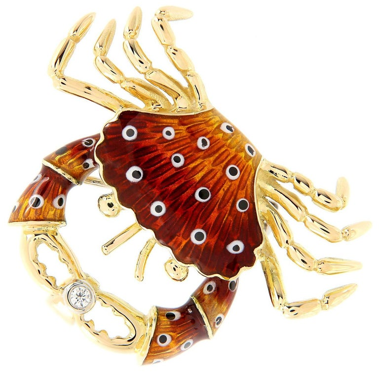 Italian Gold Enamel Crab Diamond Brooch or Pendant For Sale