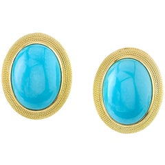 Sleeping Beauty Mine Turquoise 18 Karat Yellow Gold Earrings