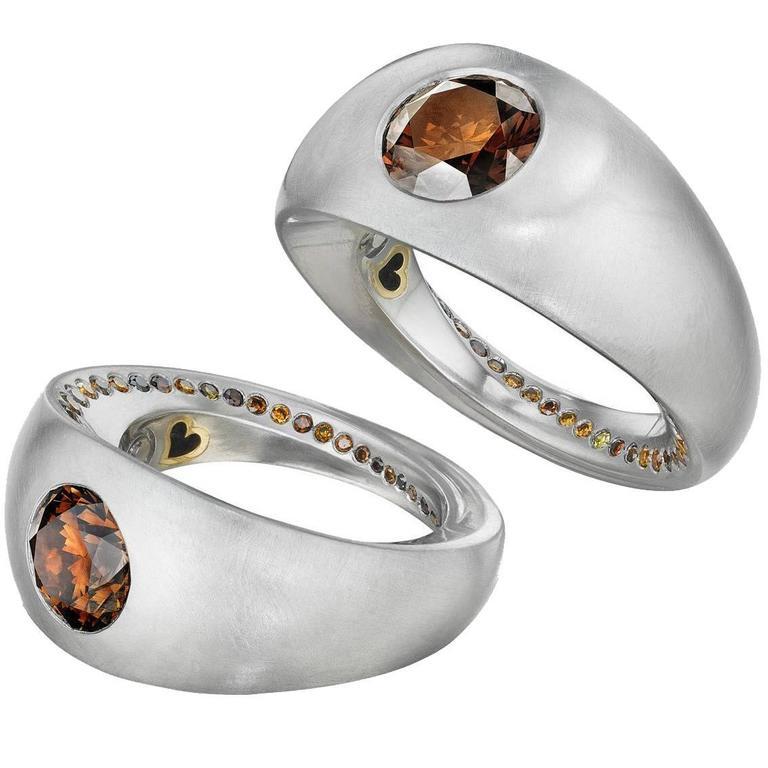 Naomi Sarna Award-Winning Golden Orange Brown Diamond Platinum Ring For Sale