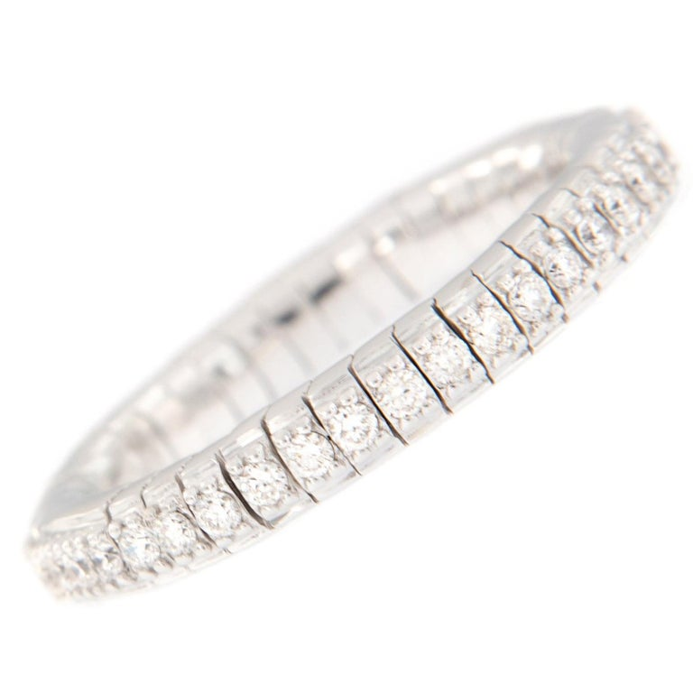 Diamond Eternity White Gold Flexible Band Ring For Sale