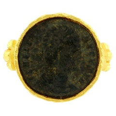 Sacchi Antique Roman Coin 18 Karat Yellow Gold Ring