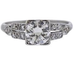 1.01 Carat Art Deco Platinum and Diamond Ring