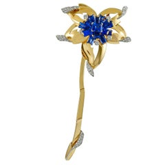 Cartier Diamond and Sapphire Flower Brooch