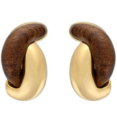 "Rosewood and 18 Karat Yellow Gold ""Half Link"" Earrings by Seaman Schepps"