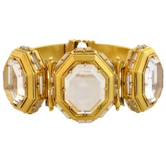 Early Victorian Rare Rock Crystal Three-Locket Gold Bracelet
