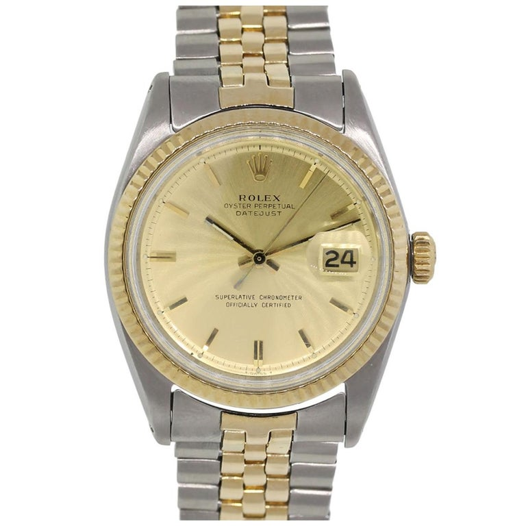 Rolex Yellow Gold Stainless Steel Datejust Automatic Wristwatch Ref 1601