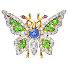 Belle Epoque Sapphire Demantoid Ruby Diamond & Platinum 18K Gold Butterfly Pin