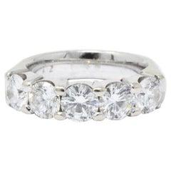 2.20 Carat Total 14 Karat White Gold Five Diamond Band Ring