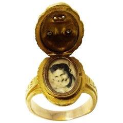 Unisex 14 Karat Victorian Diamond Poison Locket Ring