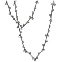 John Iversen Labradorite and Moonstone Oxidized Silver Long Willow Necklace