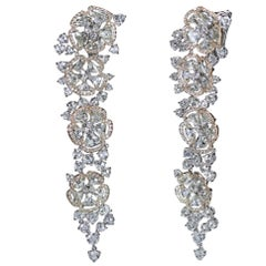 Studio Rêves 18 Karat White, Rose Gold and Rose Cut Floral Dangling Earrings