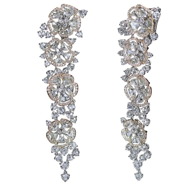 Studio Rêves 18 Karat White, Rose Gold and Rose Cut Floral Dangling Earrings