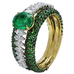 Studio Rêves 18 Karat Gold, Emerald and Marquise Diamond Band Ring