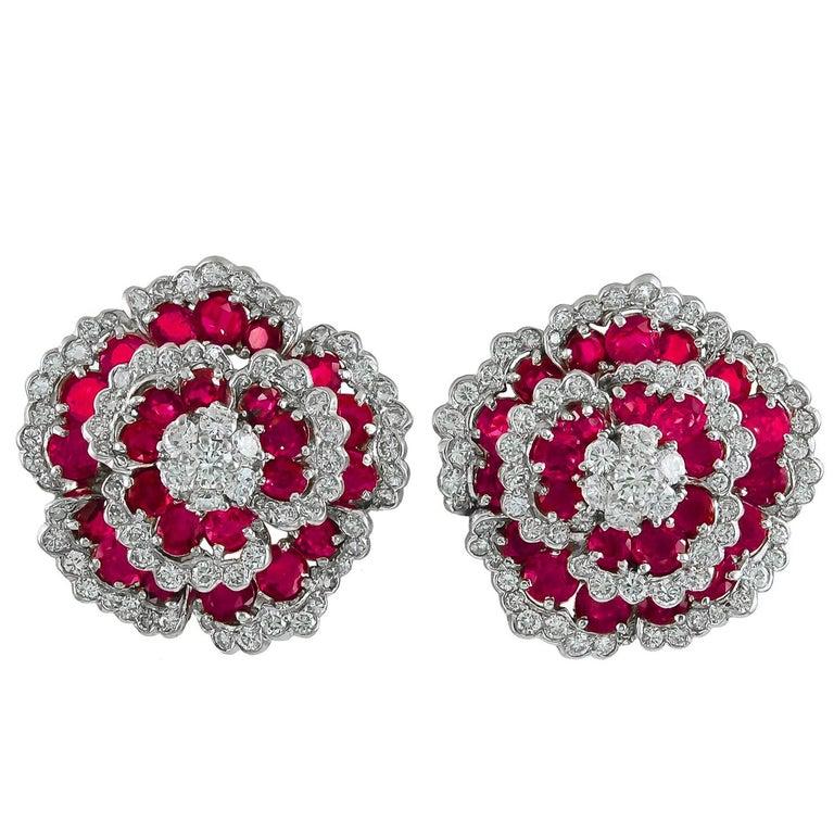 Van Cleef & Arpels Diamond Ruby Flower Earrings