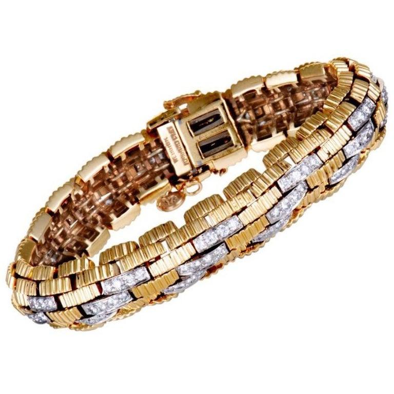 1960s David Webb Diamond 18 Karat Yellow Gold Platinum Link Bracelet