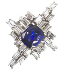 1950s Retro Natural Royal Blue Sapphire Diamond Cocktail Ring GIA Certified