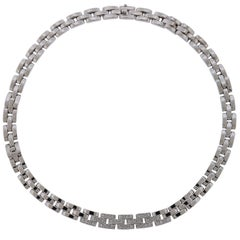 Cartier Panthere 18 Karat White Gold and Diamonds Necklace