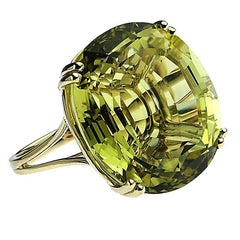 Fabulous Huge Oval Lemon Quartz Cocktail Ring in Yellow Gold