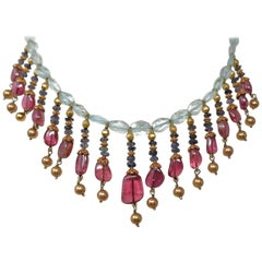 Aquamarine Tanzanite Rubellite and Gold Bead Indian Necklace