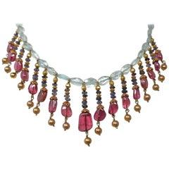 Aquamarine Tanzanite Rubellite and Gold Bead Indian Necklace