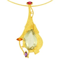 "Sacchi ""Burlesque"" Multicolor Precious Gemstones 18 Karat Yellow Gold Necklace"