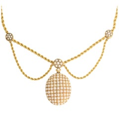 Antique Mid Victorian Pearl Diamond Locket Swag Necklace