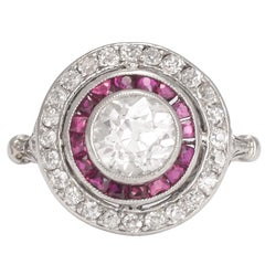 Art Deco Style Diamond Ruby Target Ring