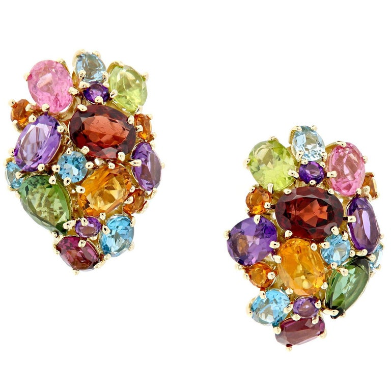 Multi Gemstone Cluster Yellow Gold Earrings For Sale