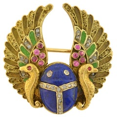 Art Nouveau Egyptian Revival Diamond, Ruby, Carved Lapis Scarab, Enameled Pin